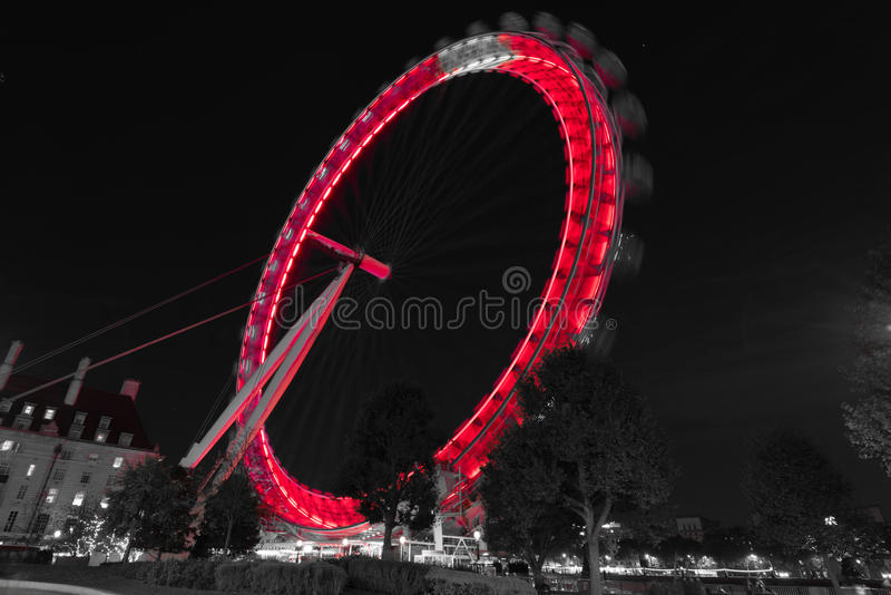 Download London Eye Black And White At Night Editorial Stock Image