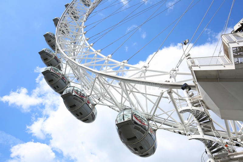 The London Eye. LONDON, ENGLAND - JULY 8, 2017: Close up of The London Eye a giant Ferris wheel on the South Bank of the River Thames in London. As of January stock photography