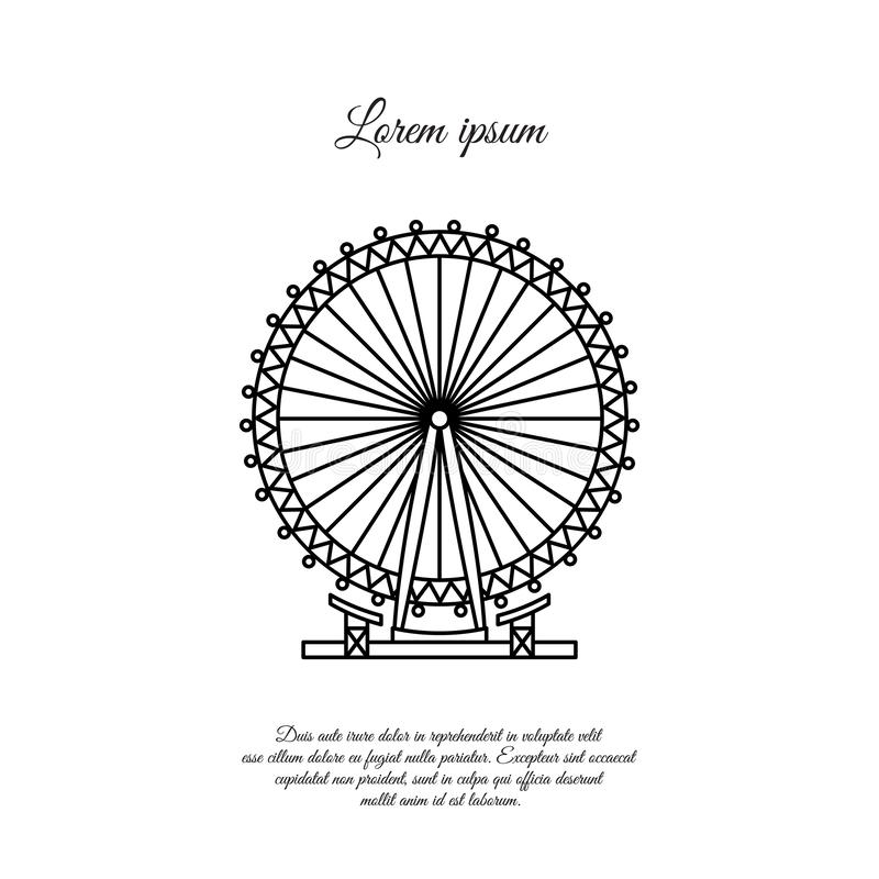 London Eye, Ferris koła wektoru linii ikona, znak royalty ilustracja