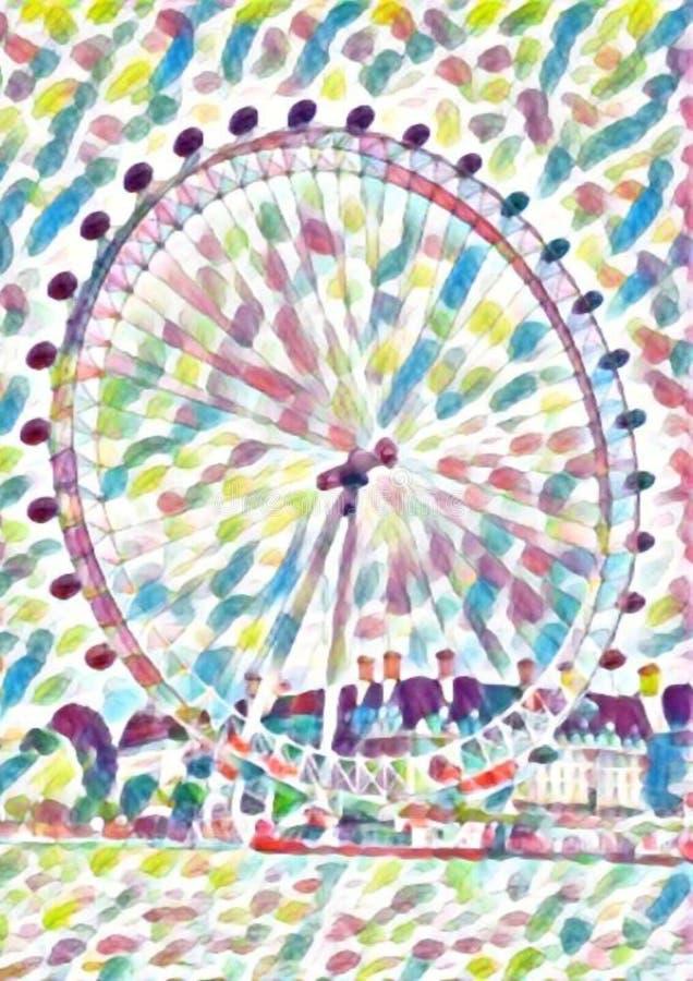 London eye ferris wheel watercolor vector illustration