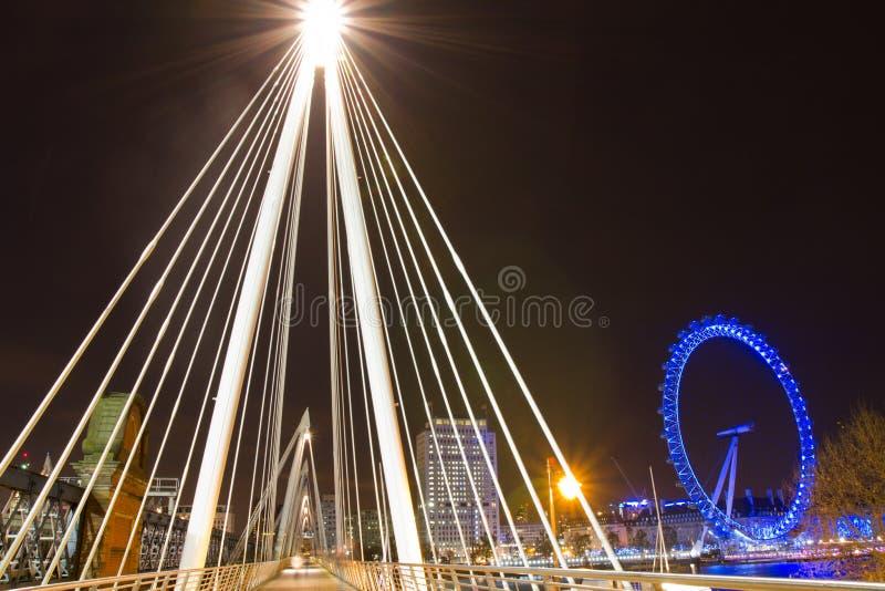 London Eye And Golden Jubilee Bridge Editorial Stock Image