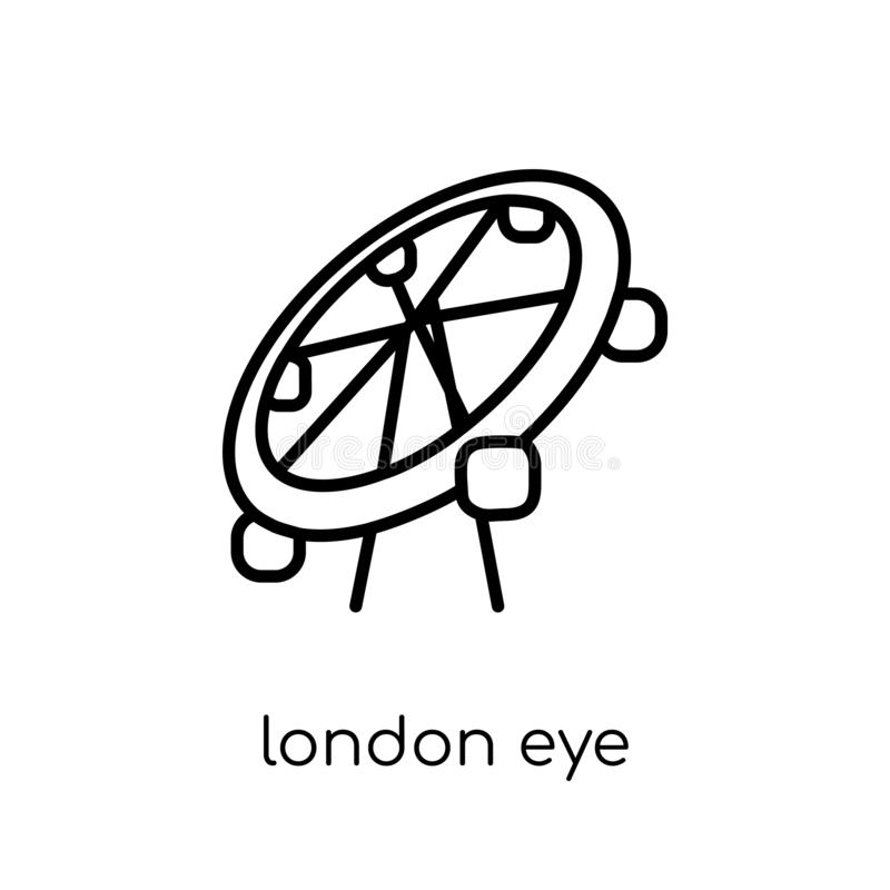 London eye icon. Trendy modern flat linear vector London eye icon on white background from thin line Architecture and Travel coll stock illustration