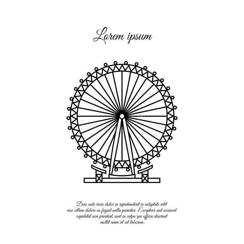 London Eye, linha ícone do vetor da roda de Ferris, sinal ilustração royalty free