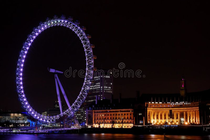 Download London Eye at night editorial photo. Image of light, united - 6908196