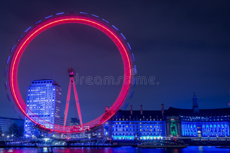 London Eye at Night stock image