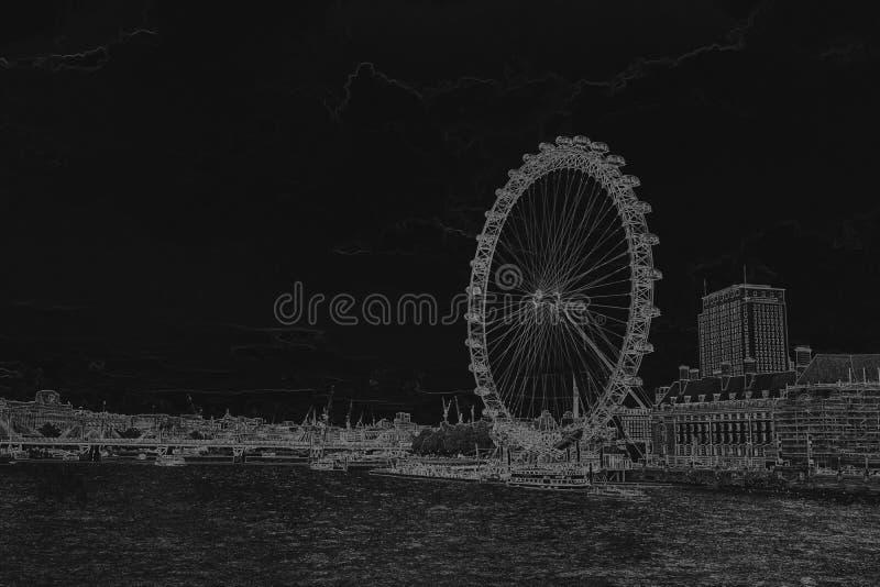 London Eye Pencil drawing of a London Eye on black background. P. Encil sketch filter royalty free illustration