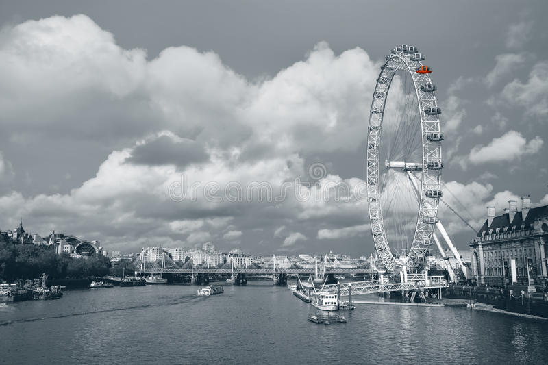 The London Eye and skyline. A great picture of there London skyline on a cloudy day in November royalty free stock photo