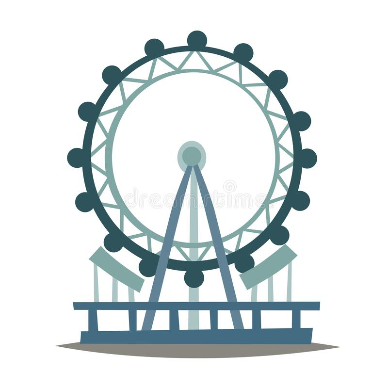 London eye vector Illustration. England landmark, London city symbol cartoon style stock illustration