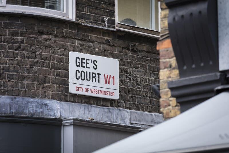 London Förenade kungariket, Februari 7th 2019, Signage för den Gees domstolen royaltyfria foton