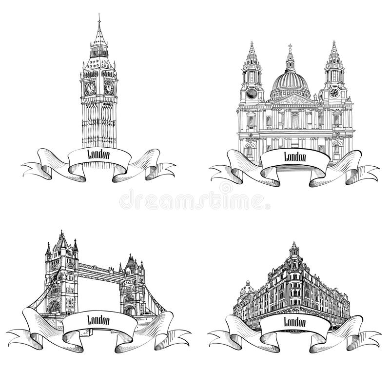 London famous buildings set. Hand drawing sketch collection of L stock illustration