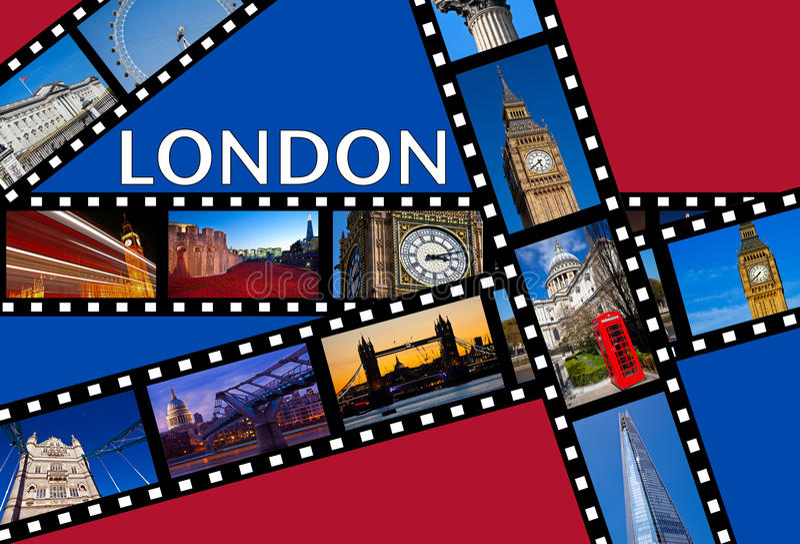 LONDON filmremsor royaltyfri illustrationer