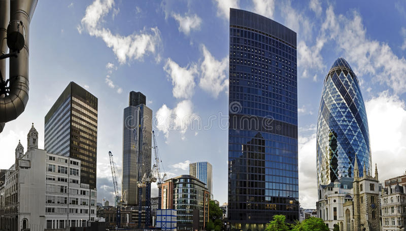 London financial district. Shot of London's famous skyscrapers including 'the Gherkin', Aviva and Tower 42 in the heart of it's financial district, The City royalty free stock image