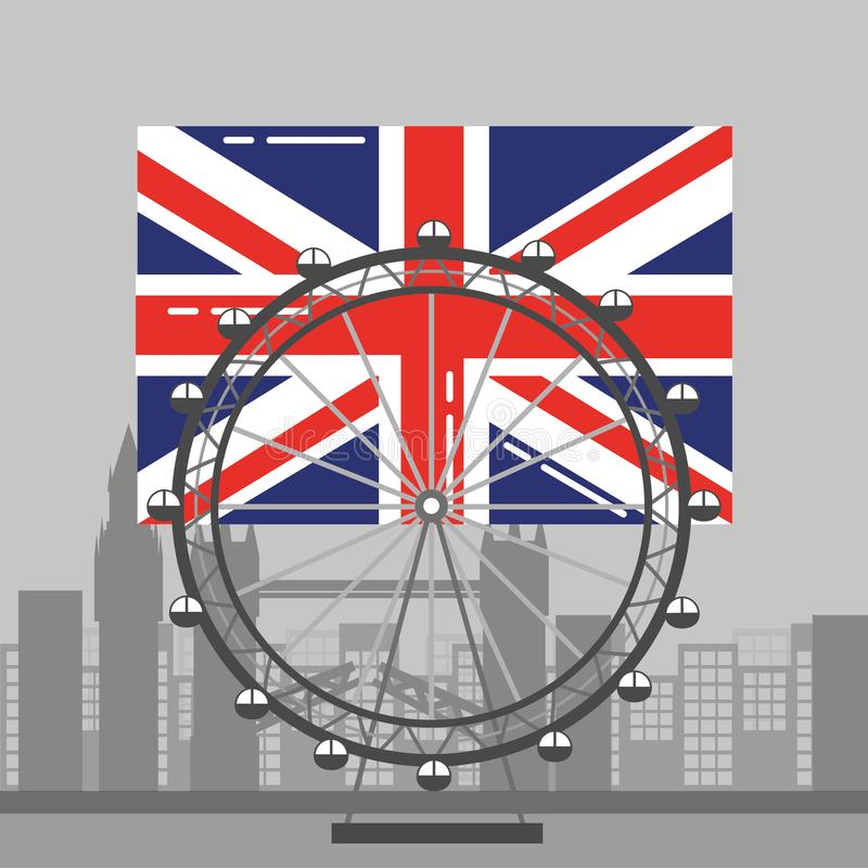 London flag british ferris wheel recreation landmark and buildings royalty free illustration