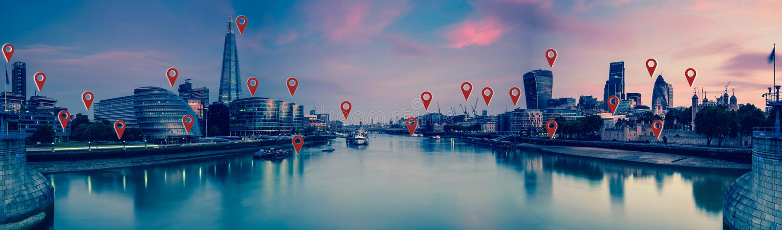London with flat map pins, network and connections concept. royalty free stock photography