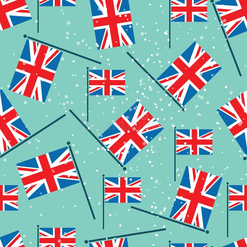 London flat-04. United Kingdom flags on blue background. Seamless pattern. Design element for fabric, wrapping paper, wall paper, flyers or posters. Flat design vector illustration