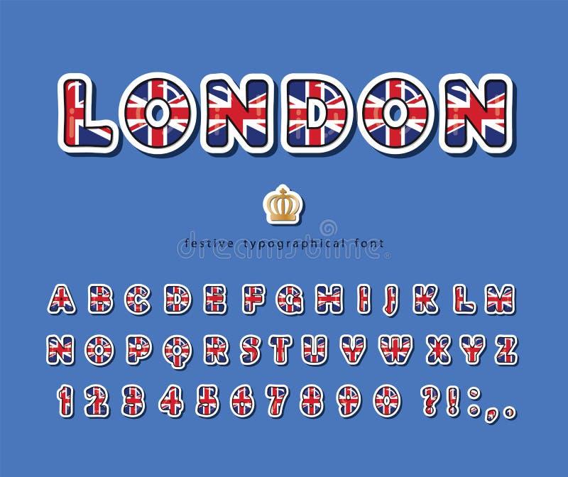 London font Britse nationale vlagkleuren Helder Engels alfabet voor taalonderwijs of toeristische ontwerpen Vector stock illustratie
