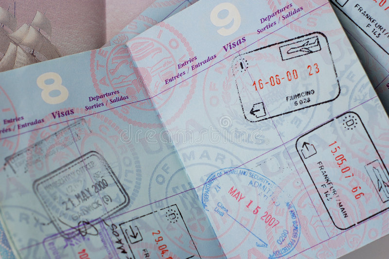 London we frankfurcie paszport, zdjęcie stock