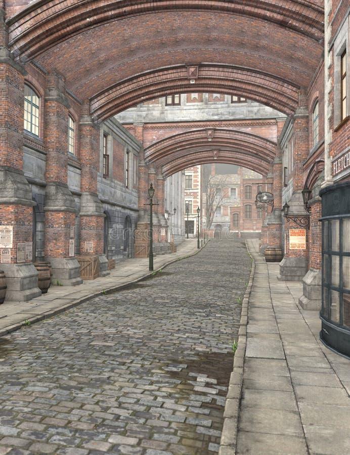 London gata, 3D CG royaltyfri illustrationer