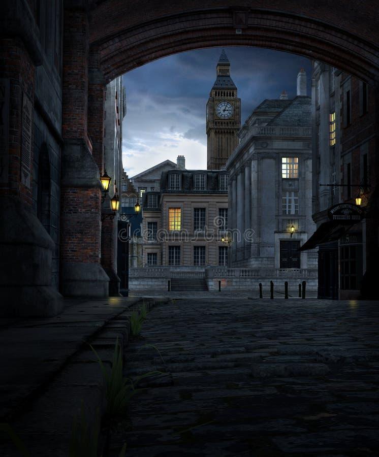 London gata på natten med 19th århundradestadsbyggnader royaltyfri bild