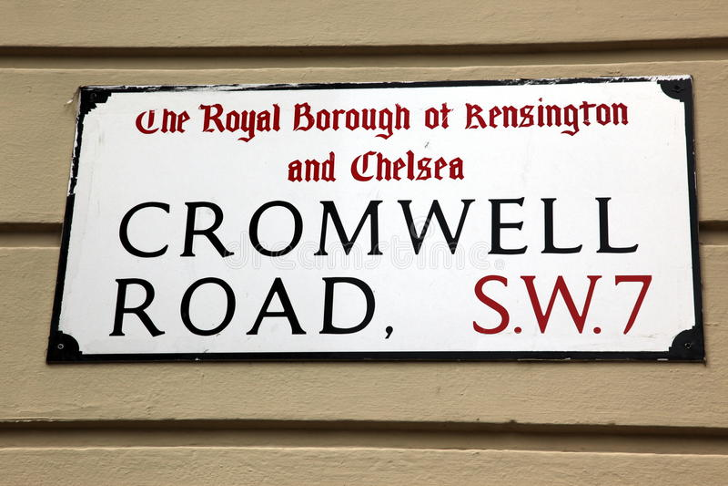 London gatatecken, Cromwell väg, stad av Kensington och Chel royaltyfri foto