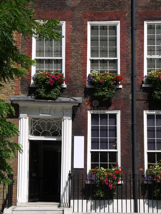 London: Georgian terrace with flower boxes royalty free stock photos
