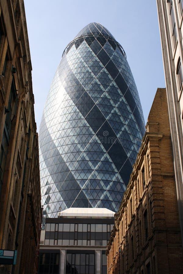 London Gherkin. Gherkin building in financial district of London, England royalty free stock photo