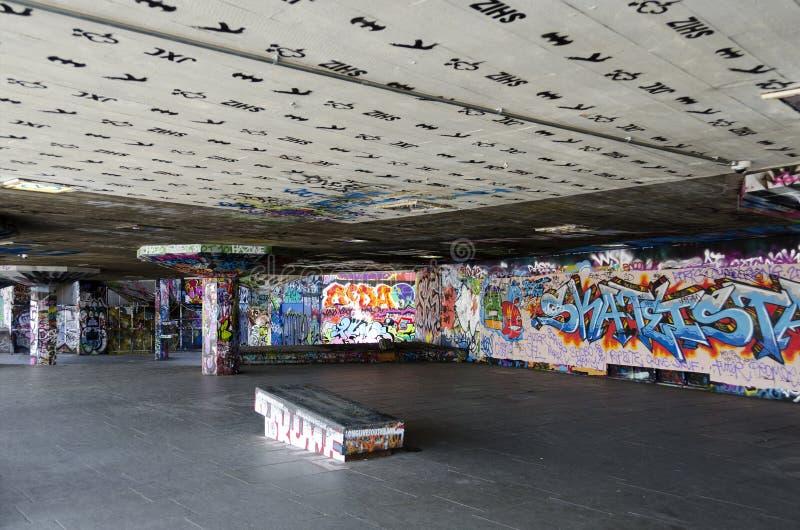 London - Graffiti on Skate Park #5. Graffiti at Londons South Bank Skate parkThe undercroft, England, Great Britain stock photography