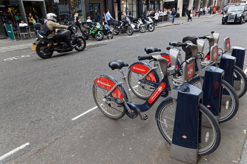 Bike is a popular urban transportation mode. LONDON, GREAT BRITAIN, April 21, 2018 : Bike is a popular urban transportation mode in the streets of London stock photo