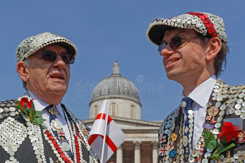 Two Pearly Kings at the Feast of St George stock photo