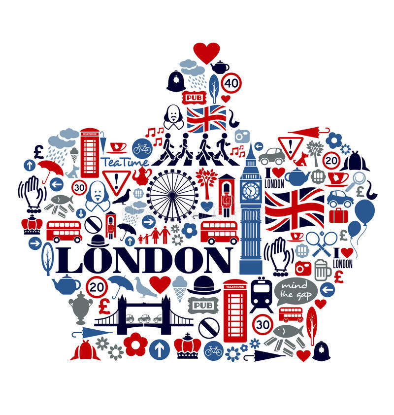 London Great Britain Icons Landmarks and attractio. Many London Icons Landmarks and attractions in a crown shape vector illustration