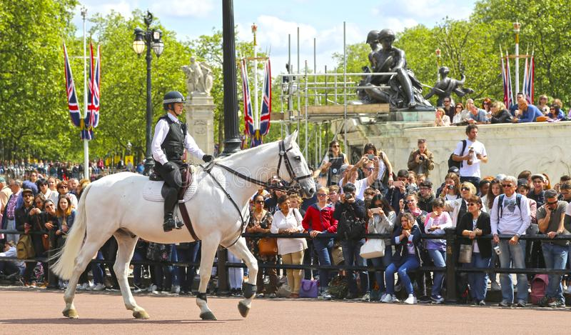 London, Great Britain -May 23, 2016: Mounted police near Buckingham Palace. During the changing of the guard royalty free stock photography