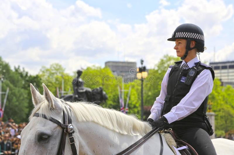 London, Great Britain -May 23, 2016: Mounted police near Buckingham Palace. During the changing of the guard stock photo