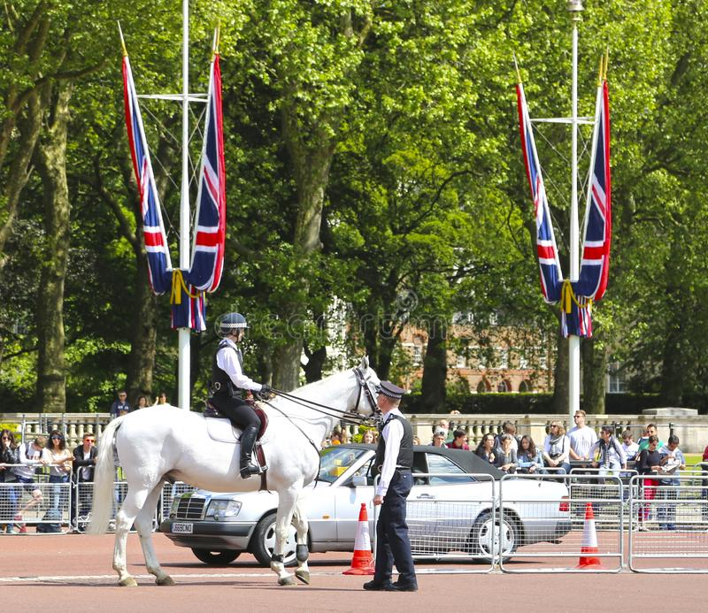 London, Great Britain -May 23, 2016: Mounted police near Buckingham Palace. During the changing of the guard stock photos