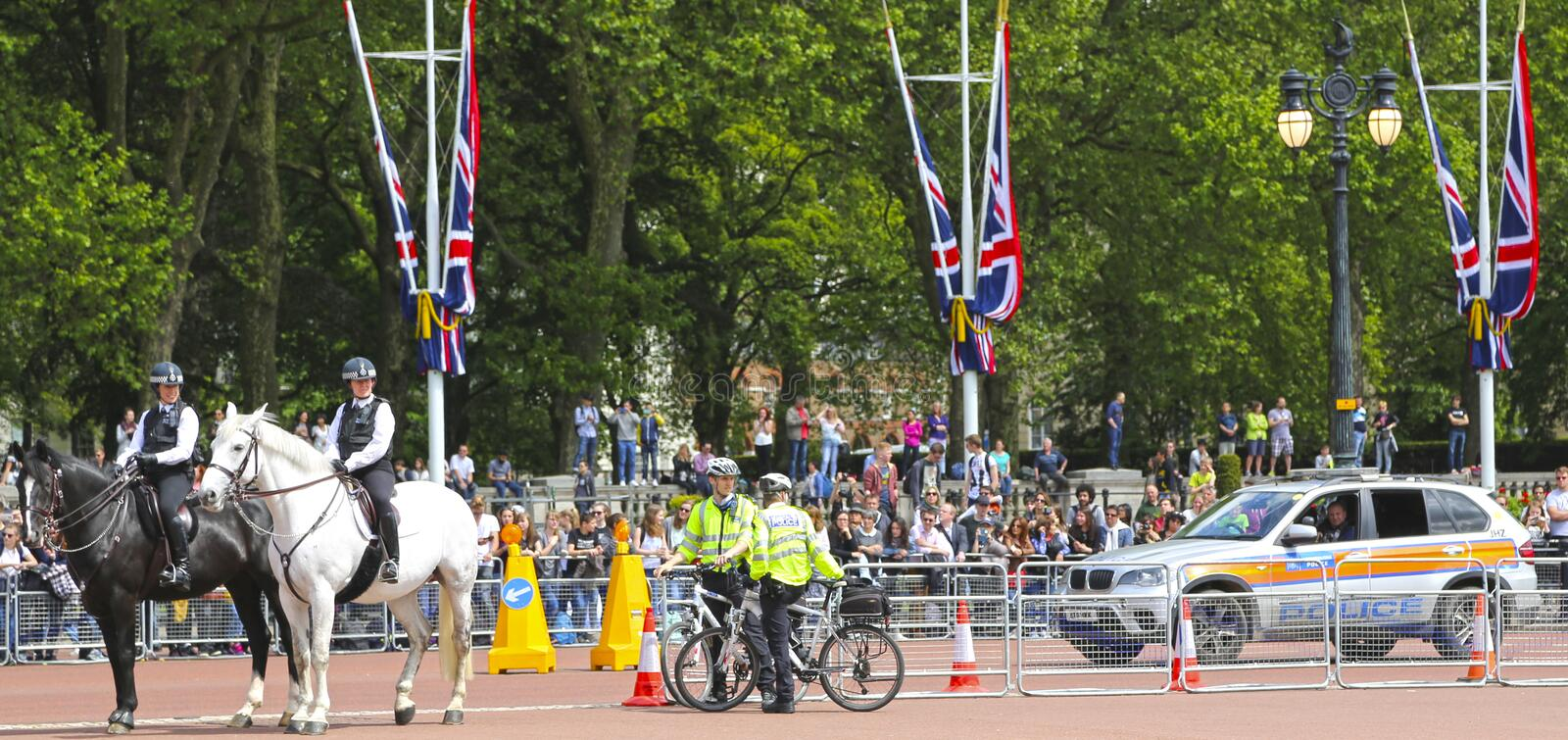 London, Great Britain -May 23, 2016: Mounted police near Buckingham Palace. During the changing of the guard stock image