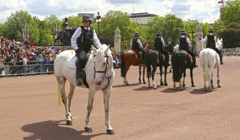 London, Great Britain -May 23, 2016: Mounted police near Buckingham Palace. During the changing of the guard stock photography