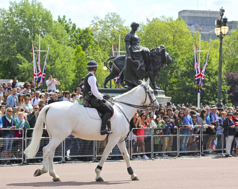London, Great Britain -May 23, 2016: Mounted police near Buckingham Palace. During the changing of the guard royalty free stock photo