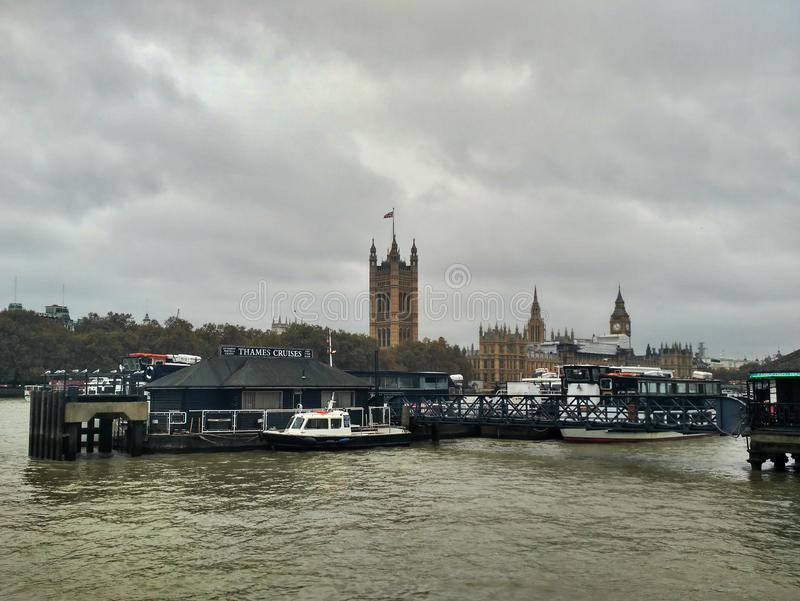 London / Great Britain - November 01 2016: Panoramic view on the River Thames, Palace of Westminster and Big Ben royalty free stock images