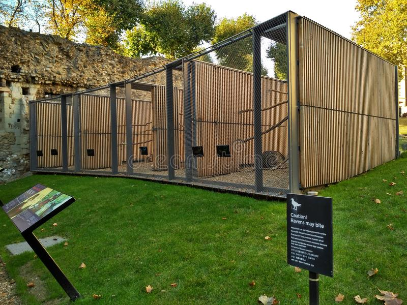 London / Great Britain - October 31 2016: Big cages for ravens on the territory of the Tower of London royalty free stock photo