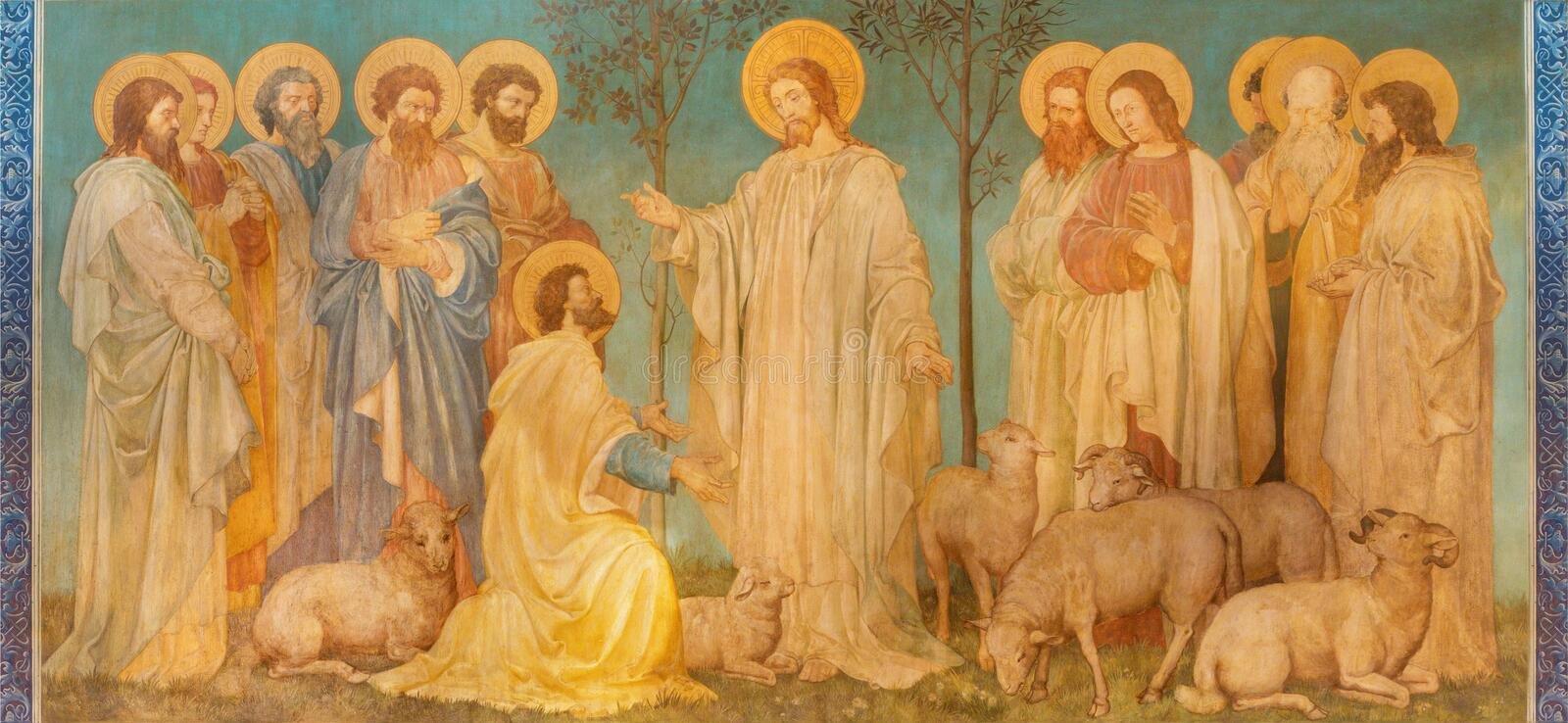 LONDON, GREAT BRITAIN - SEPTEMBER 19, 2017: The fresco of scene 'Feed my sheep' - Jesus give the power to St. Peter. In church St. Mary Abbots by royalty free stock image