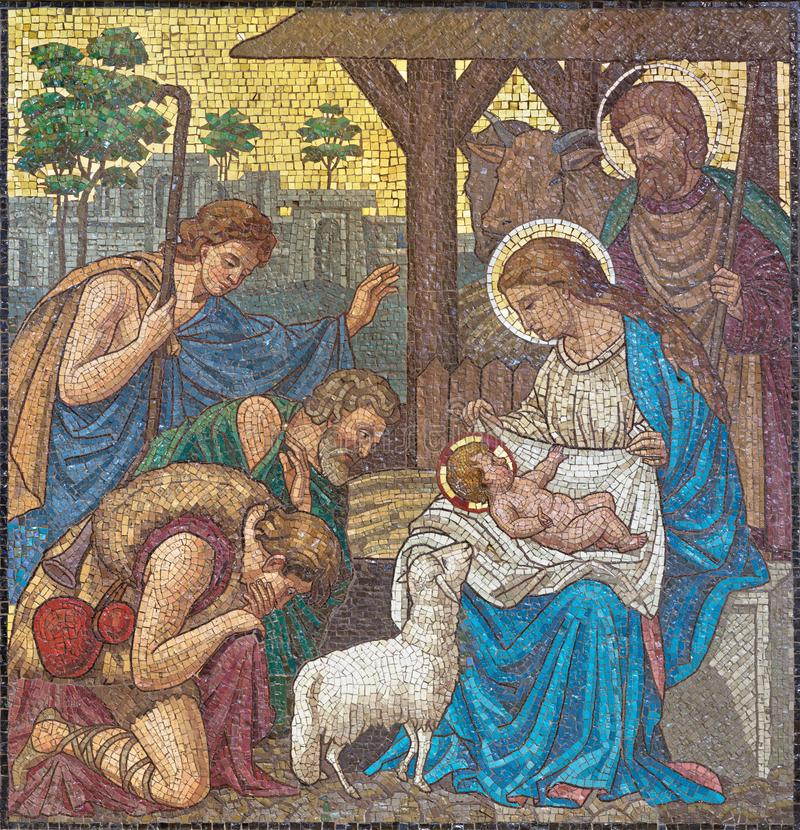 LONDON, GREAT BRITAIN - SEPTEMBER 17, 2017: The mosaic of The Adoration of Shepherds in church St. Barnabas. By Bodley and Garner end of 19. cent stock images