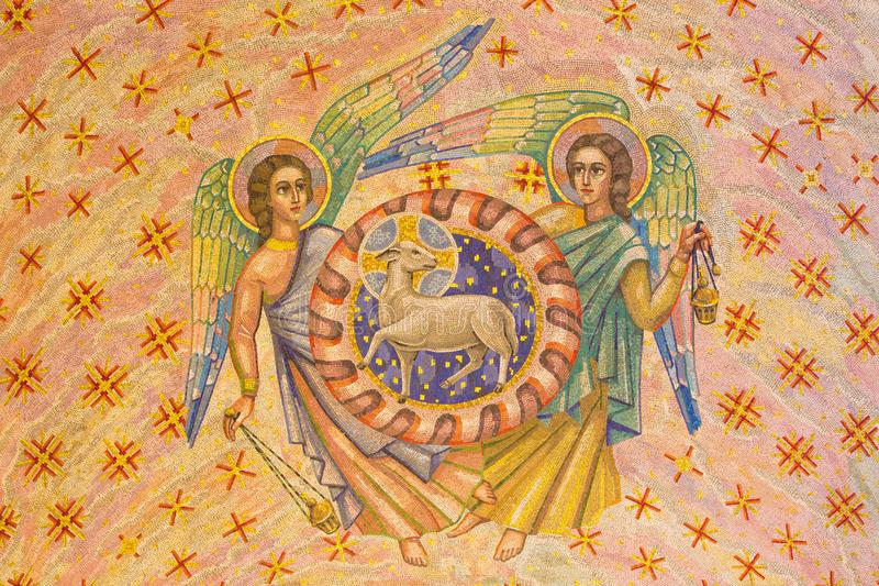 LONDON, GREAT BRITAIN - SEPTEMBER 17, 2017: The mosaic of Lamb of God and andgels in Westminster cathedral. And Blessed Sacrament Chapel designed by Boris Anrep royalty free stock image