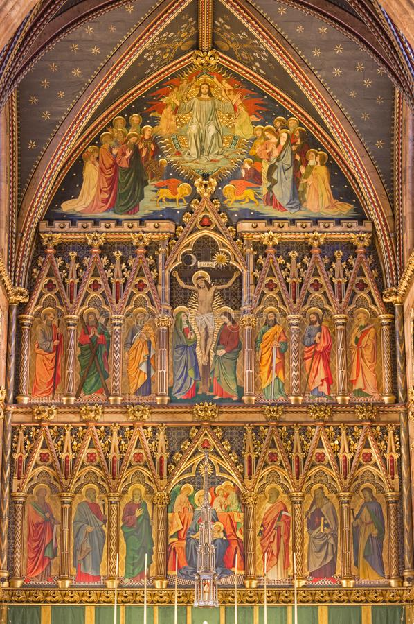 LONDON, GREAT BRITAIN - SEPTEMBER 15, 2017: The neo gothic main altar in church All Saints by Ninian Comper. 1864 - 1960 stock photos