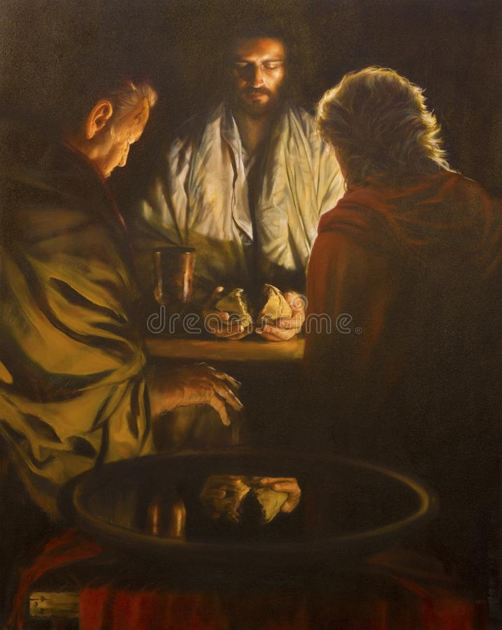 LONDON, GREAT BRITAIN - SEPTEMBER, 18 2017: The painting of the scene Jesus and the Disciples of Emausy. royalty free stock photo