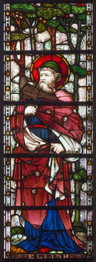 LONDON, GREAT BRITAIN - SEPTEMBER 19, 2017: The prophet Elijah on the stained glass in St Mary Abbot`s church. On Kensington High Street royalty free stock image