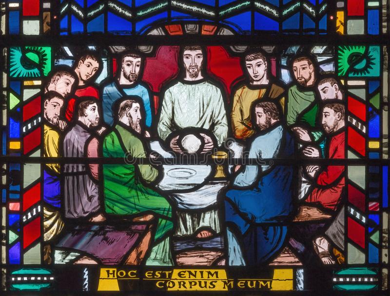 LONDON, GREAT BRITAIN - SEPTEMBER 16, 2017: The stained glass of Last Supper in church St Etheldreda stock photos