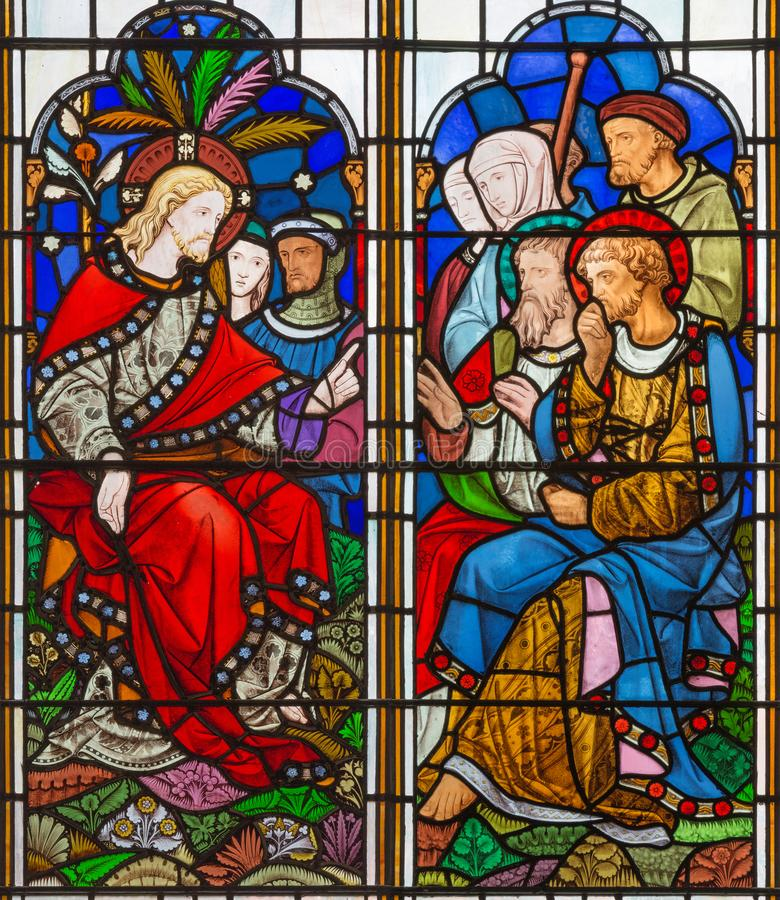 LONDON, GREAT BRITAIN - SEPTEMBER 14, 2017: The teaching of Jesus on the stained glass in the church St. Michael Cornhill stock images