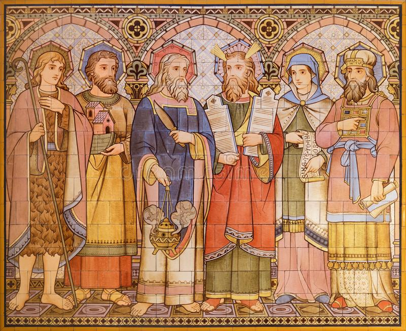 LONDON, GREAT BRITAIN - SEPTEMBER 15, 2017: The tiled mosaic of Old Testament patriarchs and person in church All Saints designed. By Butterfield and painted by stock photography