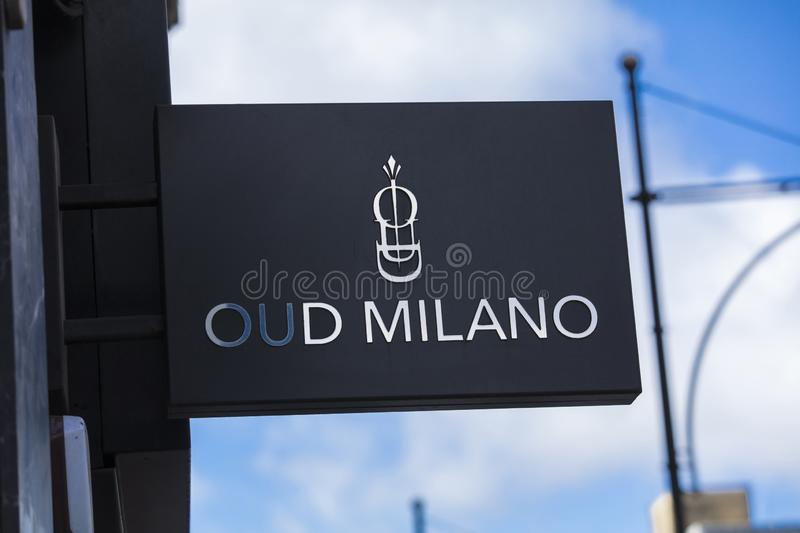 London, Greater London, United Kingdom, 7th February 2018, A sign and logo for Oud Milano stock photos