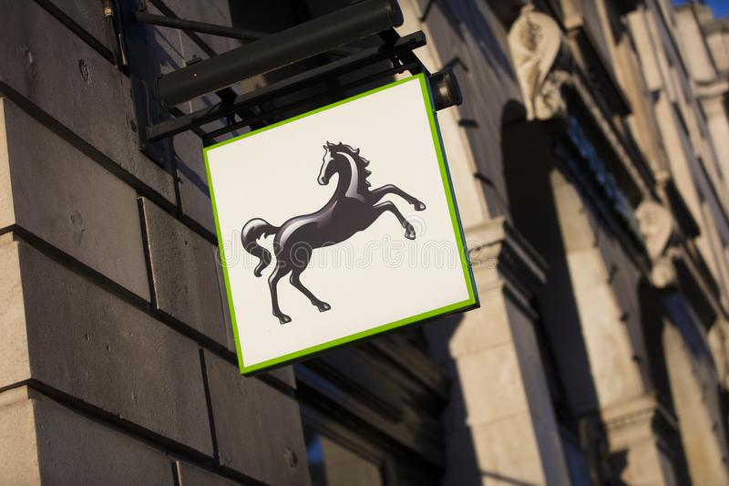 London, Greater London, United Kingdom, 7th February 2018, A sign and logo for Lloyds Bank stock images
