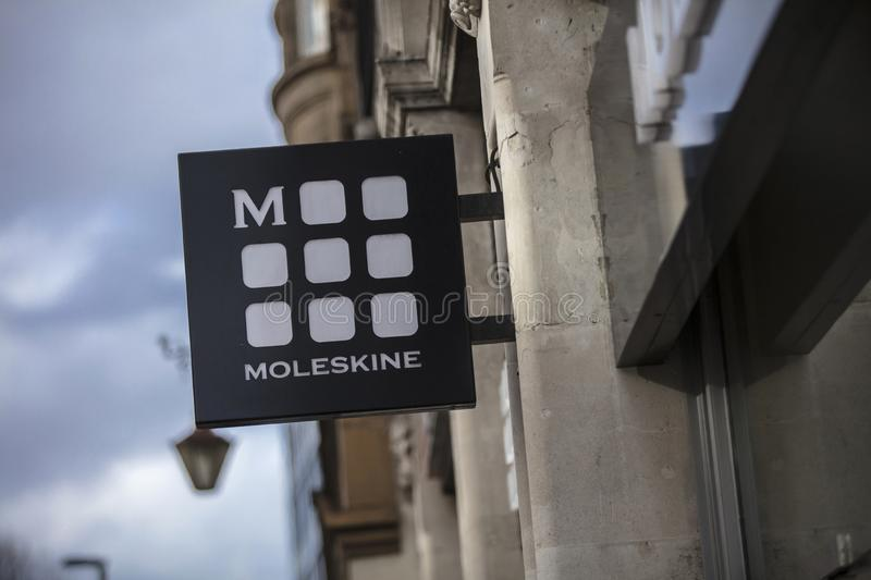London, Greater London, United Kingdom, 7th February 2018, A sign and logo for moleskine royalty free stock photography